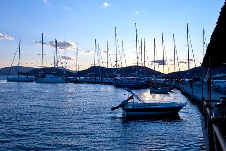 Yachts in evening photo