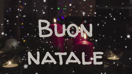 Greeting card Buon Natale, Merry Christmas in italian language Stock Photo