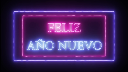 Neon sign Feliz Ano Nuevo- Happy New Year in spanish language Banco de Imagens