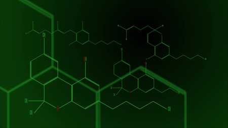 A group of cannabinoid molecules. Black and green