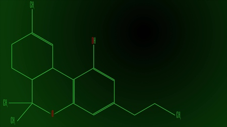 Illustration chemical formula of the tetrahydrocannabinol molecule Imagens