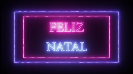 Neon sign Feliz Natal Merry Christmas in portuguese Imagens