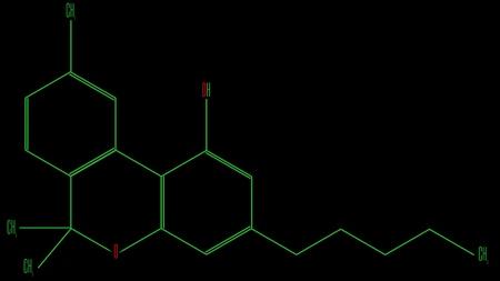Illustration chemical formula of the cannabinol molecule Stock Photo