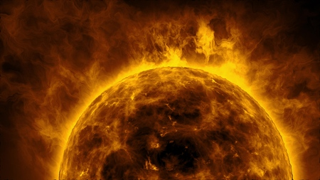 Sun surface with heat solar waves and flames Banco de Imagens