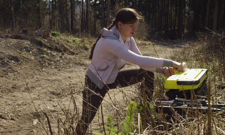 Environmentalist closing her tool box