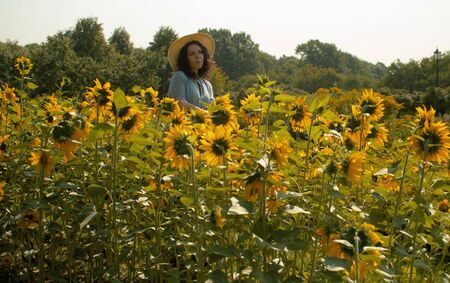 Young woman standing in a garden among sunflowers. Rural scene