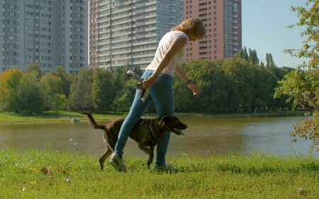 Young dogs trainer with a dog in a park near the lake at summer. Then they doing exercise snake