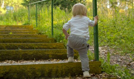 Blond toddler climbing up stairs in the park in summer. Rear view.