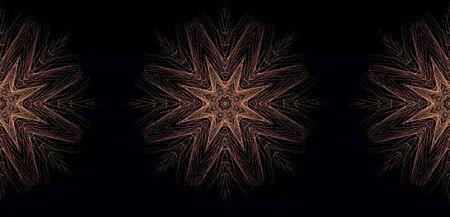 Mandala, kaleidoscope, oriental green and gold pattern on black background. Фото со стока