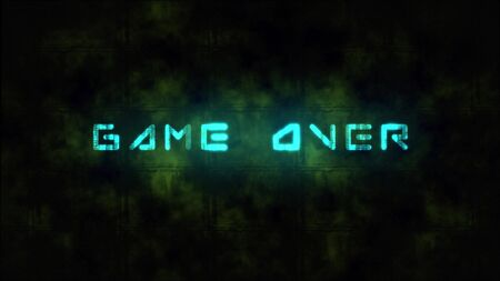 A game ending screen, saying Game over. Motion dynamic animated background in techno style, with Game Over text