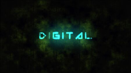 Techno DIGITAL text animation. Motion dynamic animated background in techno style, with Digital text