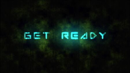 A game starting screen, saying Get Ready. Motion dynamic animated background in techno style, with Get Ready text 版權商用圖片
