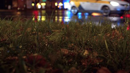 Night city traffic lights bokeh. Rain drops and yellow leaves on the grass. Reflection of the colorful lights in wet asphalt