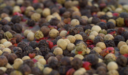 Macro shot of black, white and red peppercorns mix - aromatic spice. Extreme close up