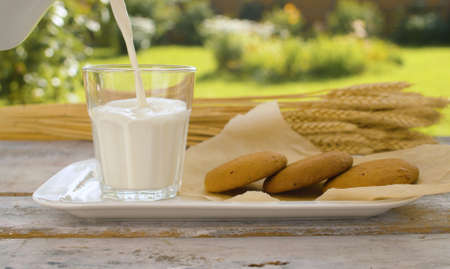 Close up hand pouring milk into a glass from a jug. Cookies and ears of wheat on a wooden table in the garden of a country house