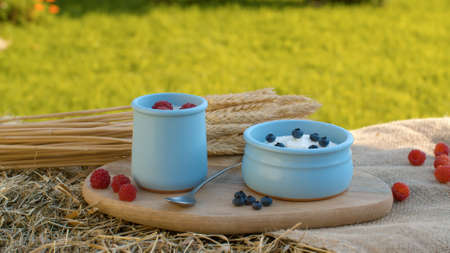 Close up shot of yogurt with raspberries and blueberries and sheaf of ripe wheat ears on a wooden cutting board in the garden at summer day.