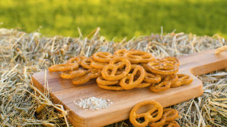 Close up pretzels on wooden cutting board outdoors on green natural background. Healthy natural food