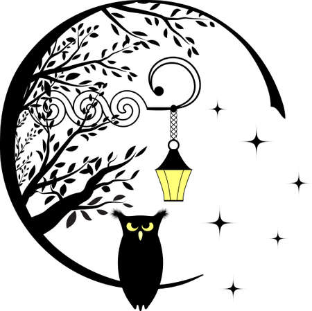 Silhouette of a fairy owl and a lantern, starry night.
