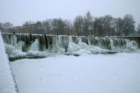 weir: icebound weir Stock Photo