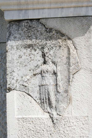 An stone engraving depicting nemosis. This historic theater in Philippi would have been visited by the Apostle Paul, Silas, Lydia and early Christians from Acts 16. The theater would have housed dramas and gladiator fights. Stock Photo