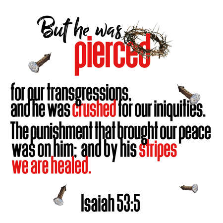 But he was pierced for our transgressions, and he was crushed for our iniquities. The punishment that brought our peace was on him; and by his stripes we are healed. Isaiah 53:5