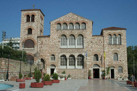 Hagios Demetrios was originally built in the 4th century in Thessaloniki, Greece. It has been rebuilt many times through the centuries with the final rebuild beginning in 1917. The church contains a crypt. Stock Photo