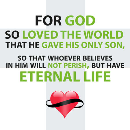 John 3:16 Bible Verse For God so loved the world that he gave his only son, so that whoever believes in him will not perish, but have eternal life Stock fotó