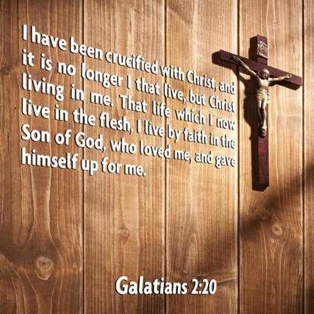 I have been crucified with Christ, and it is no longer I that live, but Christ living in me. That life which I now live in the flesh, I live by faith in the Son of God, who loved me, and gave himself up for me. Galatians 2:20 Stock fotó