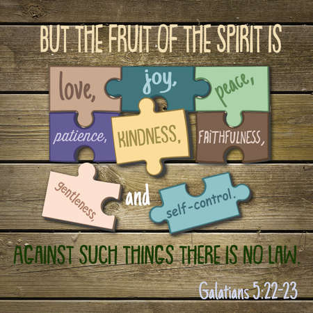 But the fruit of the spirit is love, joy, peace, patience, kindness, faithfulness, gentleness, and self-control. Against such things there is no law. Galatians 5:22-23 Banco de Imagens