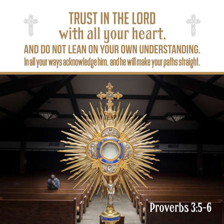 Trust in the LORD with all your heart, and do not lean on your own understanding. In all your ways acknowledge him, and he will make your paths straight. Proverbs 3:5-6 Stock Photo