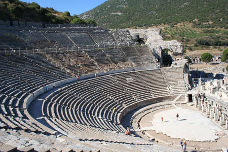 Biblical Ephesus Stadium. This is the large stadium in Ephesus where people rioted in anger to the message of St. Paul (see Acts 19:23-41). This Roman arena was home to gladiator fights and other Roman entertainment. Stock Photo