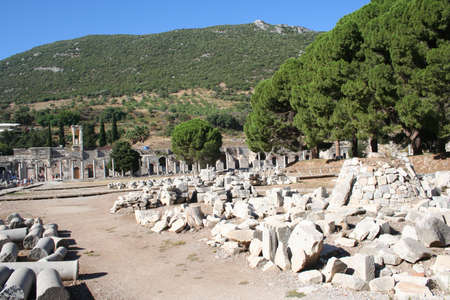 Road leading to Ephesus Stadium. This road leads to the large stadium in Ephesus where people rioted in anger to the message of St. Paul (see Acts 19:23-41). This road was travelled by Marc Anthony and Cleopatra.