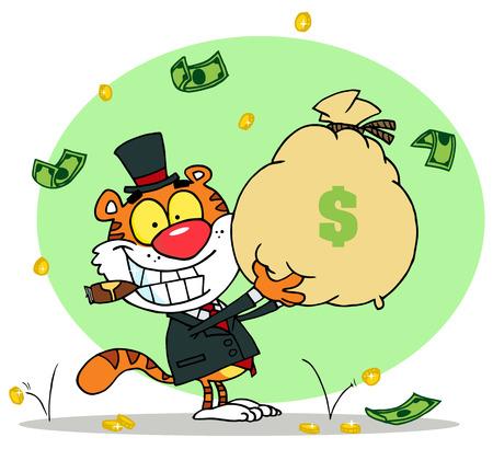 money cat: Feliz Tiger fumar A Cigar Y Holding Up A Bag Of Money, fondo Vectores