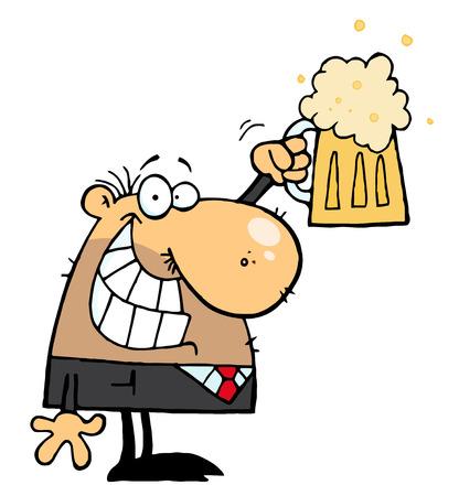 BussinesMan feliz celebrando una Pint de cerveza