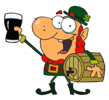 paddys: Lucky Leprechaun Toasting With A Glass And Carrying A Keg Illustration