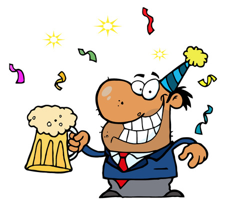 Happy African American Businessman Celebrating At A Party With Beer Vector
