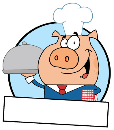 online logo: Pig Waiter Serving A Platter Logo With A Text Box Illustration
