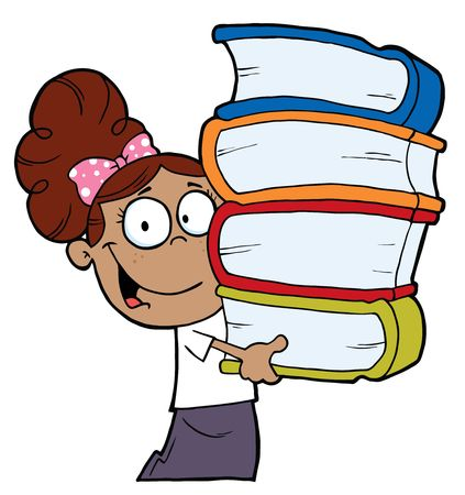 Smart Latina School Girl Carrying A Stack Of Books Stock Vector - 6792792