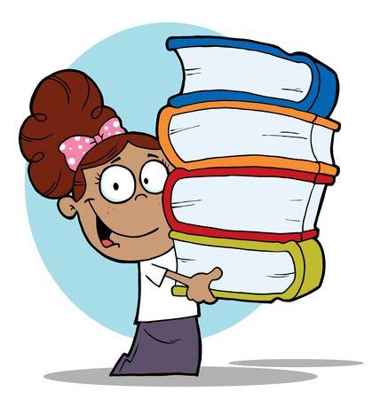 bücherwurm: Smart Spanier School Girl Carrying A Stack Of Books  Illustration