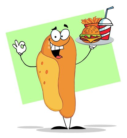 Hot Dog Character Serving Fast Food On A Tray Stock Vector - 6792784