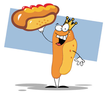 stock clipart icons: Crowned Hot Dog Holding Up A Garnished Hot Dog Illustration