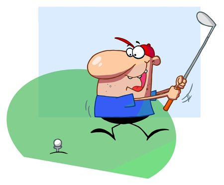 cartoons: Golfer Guy Taking A Fast Swing