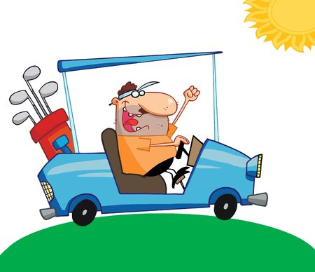 cartoony: Golfer Man Driving A Cart On A Sunny Day