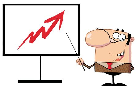 Businessman Pointing A Stick At An Arrow On A Board Vector