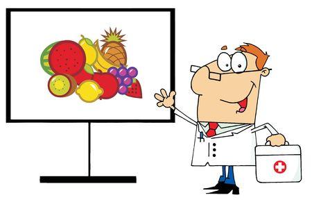 medico caricatura: Permanente de Male doctor amistosa por frutas en una Junta