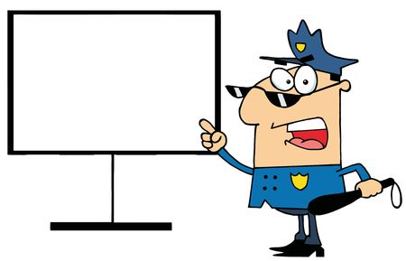 cartoon police officer: Police Officer Shouting And Pointing To A Blank Sign