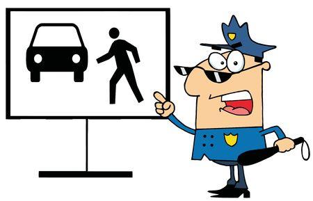 pedestrian sign: Urla di ufficiale di polizia e che punta a un segno pedonale