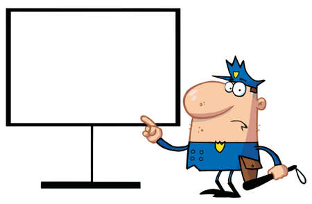 enforcer: Police Man Pointing To A Blank Sign