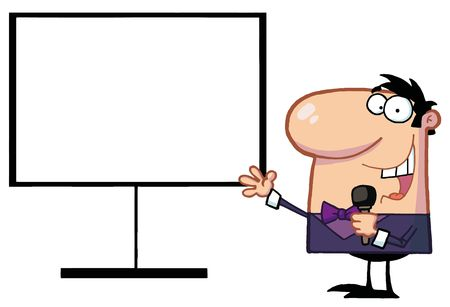 talk show: Talk Show Host Beside A Blank Board