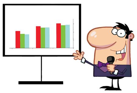 talk show: Friendly Talk Show Host Man Beside A Bar Graph Board